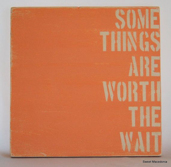 Some Things Are Worth The Wait-Distressed Wood Sign-Coral & White-Baby Shower Gift-Nursery Wall Art-Baby Girl Room on Etsy, $30.00