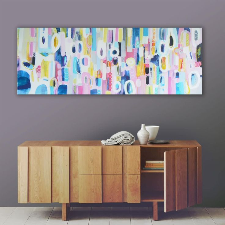 """""""Between The Raindrops"""" by Carolynne Coulson. A beautiful colourful modern large abstract painting from Carolynne's latest collection. This bright playful original painting will fill your space with light and colour.   Artwork Title: Between The Raindrops Dimensions: 132 x 46 x 4 cm  The perfect original large landscape painting to modernise and brighten up your home or office.  << Pin For Later >>"""