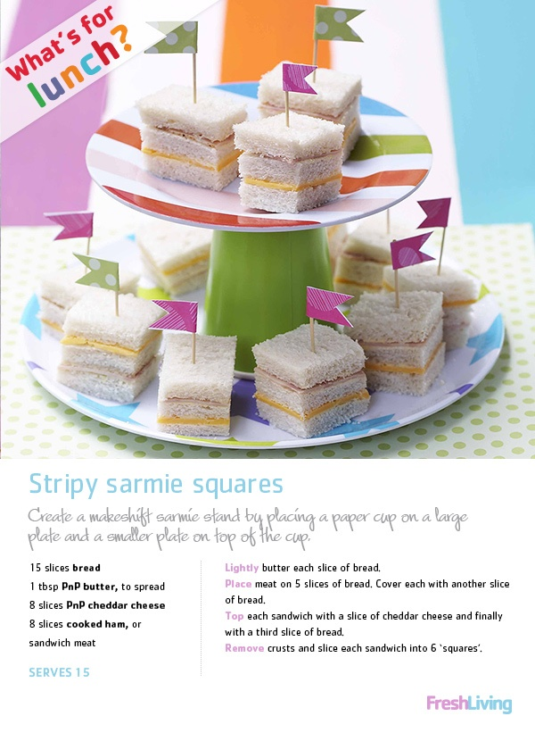 Sarmie squares for Africa! Add a bit of cheese and ham; then pop in a lunchbox or serve as picnic fare.. #dailydish #picknpay #sandwiches #teaparty