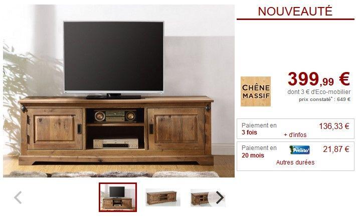 Meuble TV en chêne massif YSANDRE 2 portes et 2 niches pas cher ...