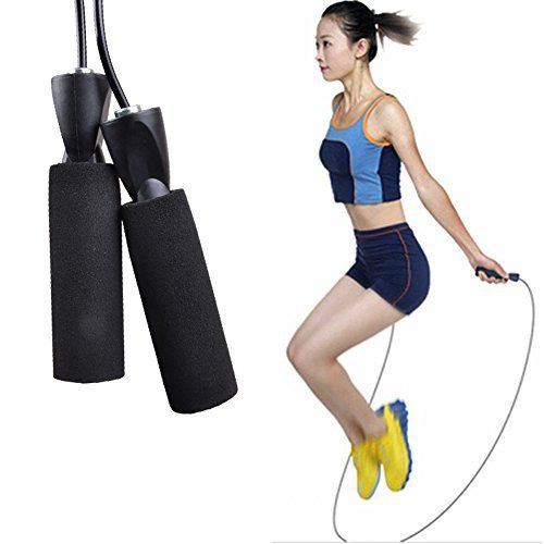 YiZYiF Jump Rope Speed Jumping Skipping Rope for Double Unders CrossFit Crosstraining MMA Boxing & Regular Cardiovascular Training (Black) - http://www.exercisejoy.com/yizyif-jump-rope-speed-jumping-skipping-rope-for-double-unders-crossfit-crosstraining-mma-boxing-regular-cardiovascular-training-black/cardio-training/