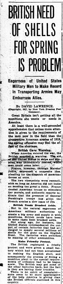 """WWI, 23 Oct 1917;""""Spring offensive may feel the effect of the shortage"""" - The Washington Times"""
