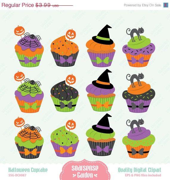 Halloween Cupcakes Digital Clipart