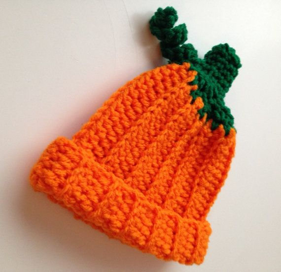 Pumpkin Hat - 0 to 3 Months - Photo Prop - Baby Pumpkin Hat - Halloween - Handmade Crochet - Ready to Ship This hat is great for the fall -