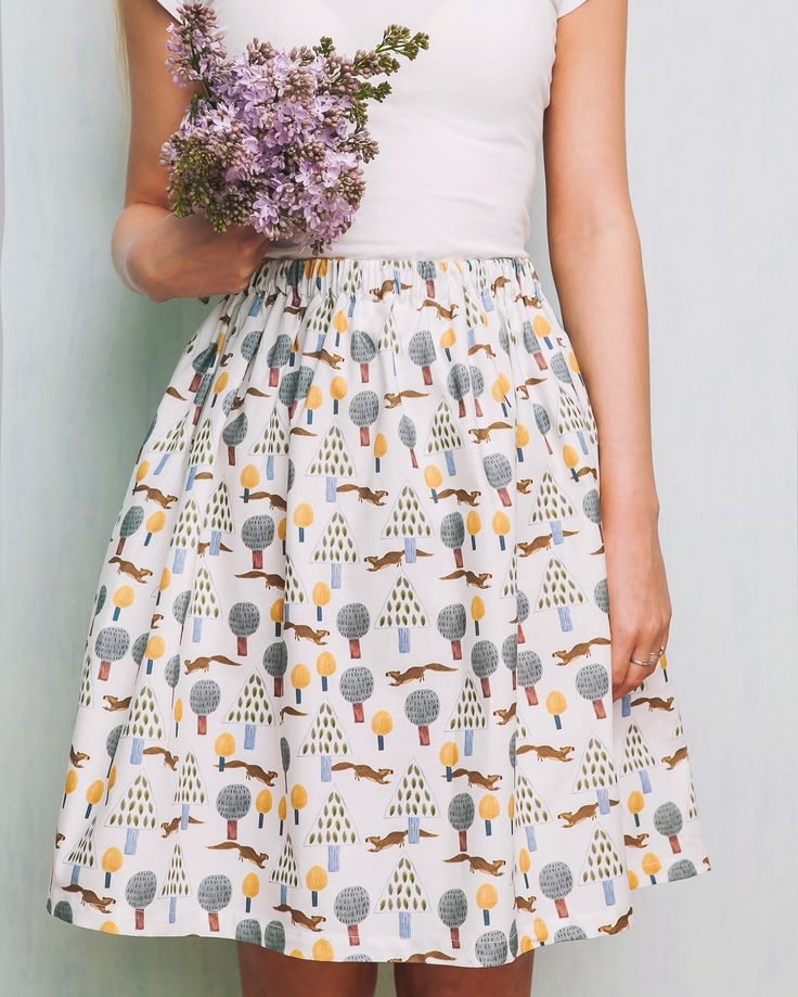 """Летняя юбка из хлопка с принтом """"Сказочный лес"""" от дизайнера Yulia Topolnikova."""