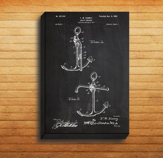 CANVAS - Ships Anchor Art, Ships Anchor Print, Ships Anchor Poster, Ships Anchor Patent, Ships Anchor Decor, Nautical Decor, Boat Decor by STANLEYprintHOUSE  34.99 USD  We use a specially manufactured cotton blend canvas for archival printing, and high end printers to produce a stunning quality canvas that's made to last.  The printing technology used for the canvas is eco-solvent.  Our art is guaranteed to turn heads and will make a great affordab ..  https://www.etsy.com/ca/listi..