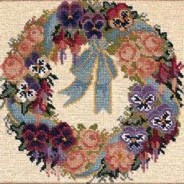 Garland of Pansies - Needlepoint by Elizabeth Bradley