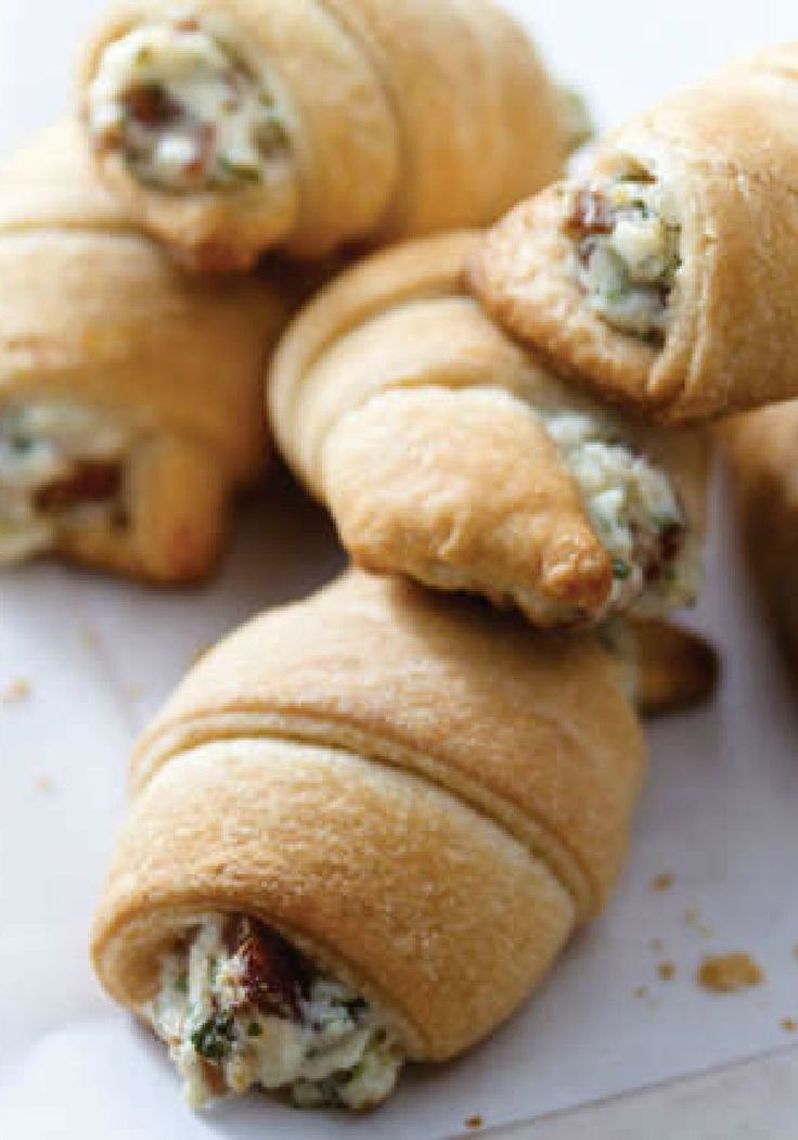 """Bacon Appetizer Crescents – Savory dip meets crescent roll for a whole new take on hot appetizers. These toasty bites will go faster than you can say """"They have bacon."""""""