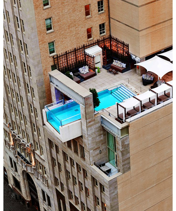 Hotel: The Joule. Location: Dallas, Texas. Those with a fear of heights should probably avoid going for a swim at The Joule. The hotel's plexiglass-fronted pool juts out eight feet over the edge of the building, giving swimmers the chance to soak up the city view below.