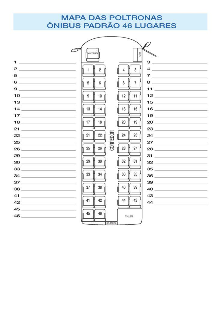 Planta baixa da distribuição de assentos de um ônibus rodoviário padrão de 46 lugares.