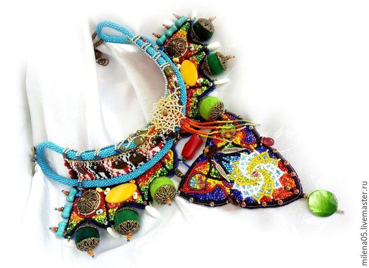 """Купить Яркое колье """"Солнцеворот"""" в африканском стиле - африканское колье, африканский стиль, этно стиль"""