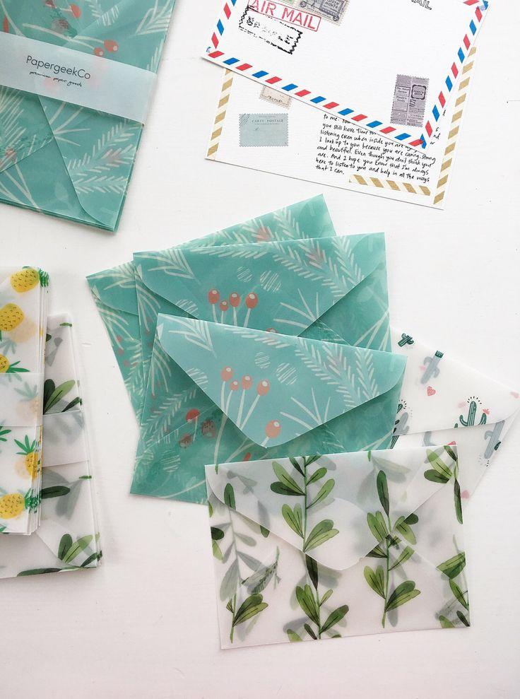 Botanical Green Envelopes - A2 - Glassine Envelopes Clear Envelopes by PapergeekCo on Etsy https://www.etsy.com/listing/510171302/botanical-green-envelopes-a2-glassine
