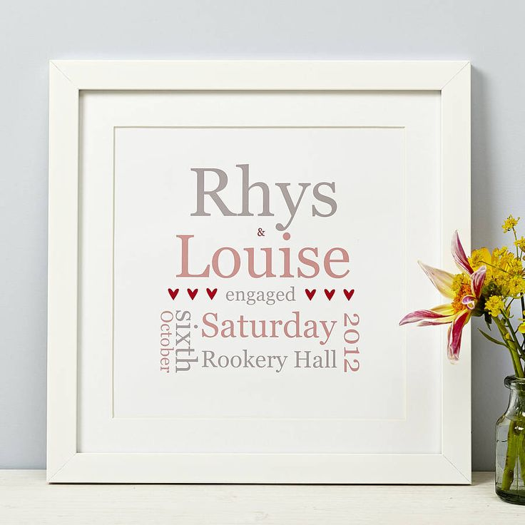 I've just found Personalised Typographic Engagement Print. An original engagement gift personalised to the couple.. £29.00
