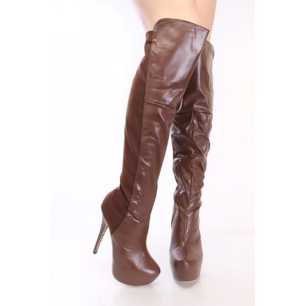 Women's Fall Fashion Thigh High Boots Brown Patent Leather Suede Almond Toe Platform Stiletto Heels Knee-high Boots Brown Platform Stiletto Heels Knee High Boots Winter Outfits 2017 Fall Outfits 2017 for Music festival, Going out   FSJ