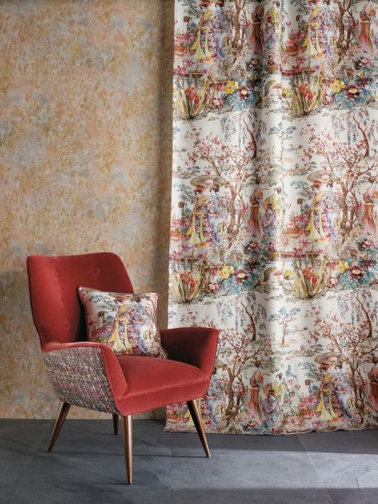 Japanese Garden Fabric - A wonderful printed linen fabric featuring a classic Japonais scene of kimono-clad ladies beside an ornamental brook, coloured in a fresh and contemporary manner. Shown in watery pinks, browns and yellows on an off-white ground.