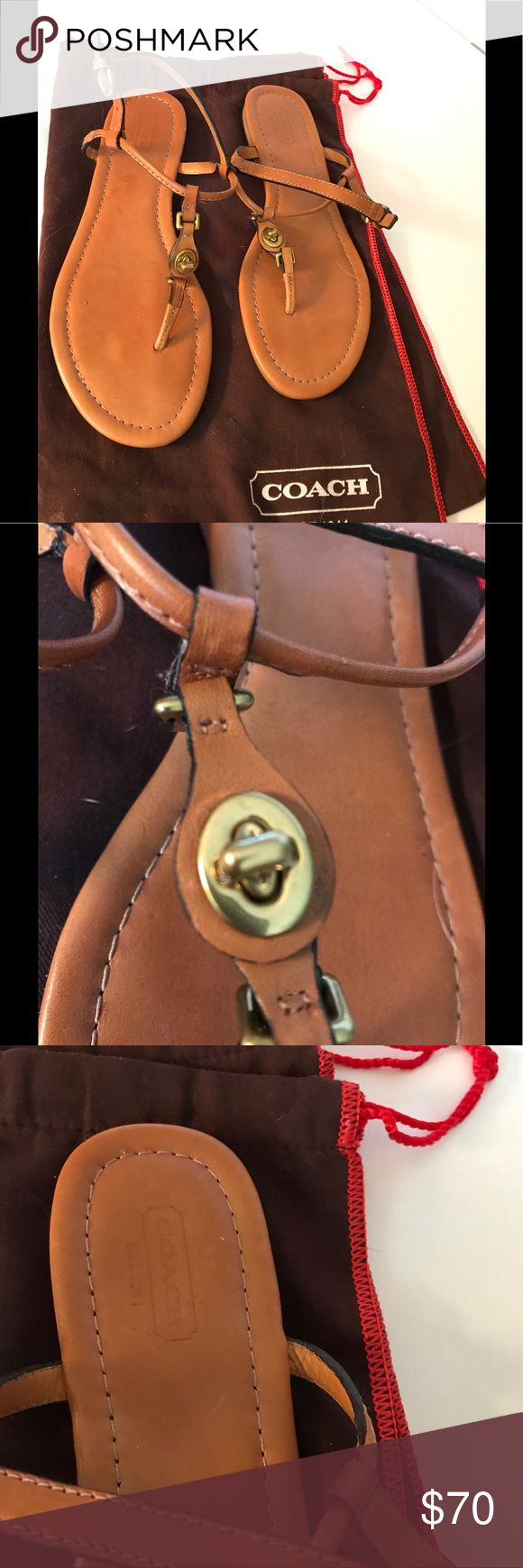 Coach Tan Saddle Leather Sandals Twist Clasp 8.5 Coach Tan Saddle Leather Sandals Gold Twist Clasp Front sz 8.5               Coach tan leather sling back T Strap Thong Leather Sandals. Very nice hand sewn leather sandals in Coach signature saddle color (camel brown). Never been worn in perfect condition. New without box or original packaging. Gold hardware – ankle strap buckle & functioning twist buckle across top. Very high end leather. In perfect condition. Black leather lining straps…
