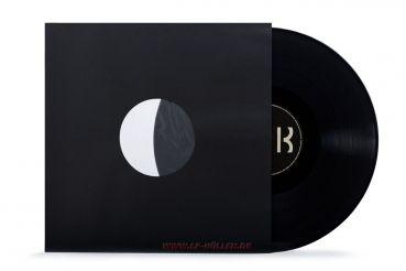 Premium LP Innenhüllen, schwarz, Mittellöcher, gefüttert, 110gr./qm