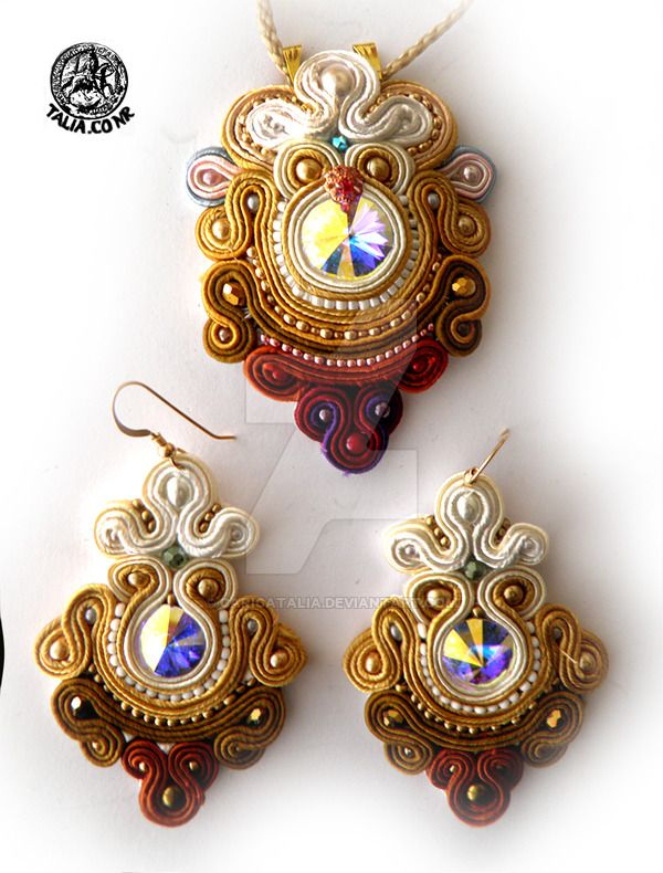 Soutache pendant and earrings in Brown by caricatalia on DeviantArt