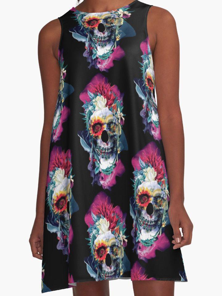 Floral Skull Blue by RIZA PEKER #women #fashion #skull #dresses #redbubble