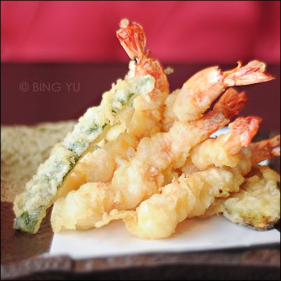 Tempura Batter:  1 egg yolk  1 cup iced water  1 cup cake four (regular works too)