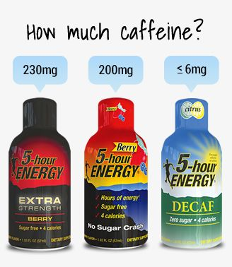 This website contains the ingredients in 5 Hour Energy shots and explanations for what each ingredient is and does. According to the website, original 5 Hour Energy shots contain as much caffeine as a premium cup of coffee and the Extra Strength variety contains the amount of caffeine in 12 oz of premium coffee.