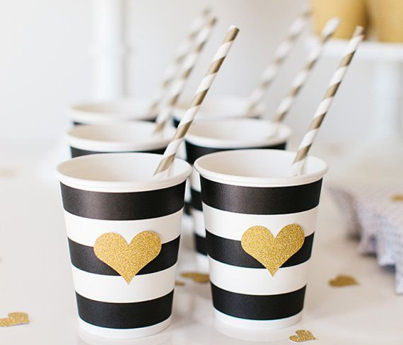 Black & White Striped Paper Party Cups with Gold Glitter Heart + Straws - Set of 12 Kate Spade party inspiration