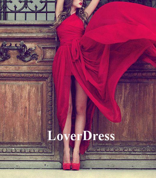 Long Prom Dress with Slit Front Slit One Shoulder by LoverDress, $139.00
