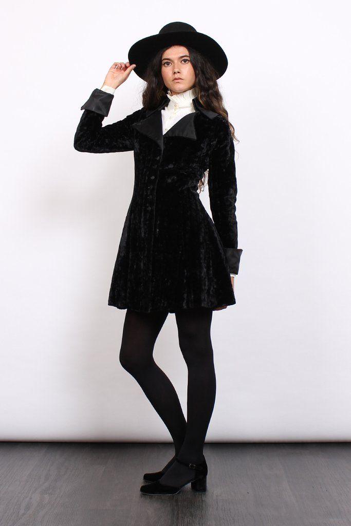 Vintage 60s Black Velvet Satin Regency Collar Gothic Coat