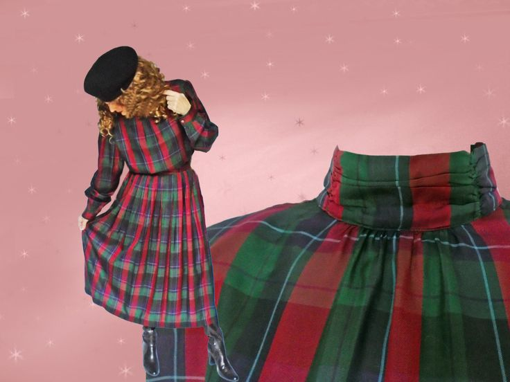 Plus Size Vintage Midi Skirt Outfit - 80s Silk Dress - Tartan Plaid Skirt with POCKETS - Tartan Plaid Blouse by LunaJunctionVintage on Etsy