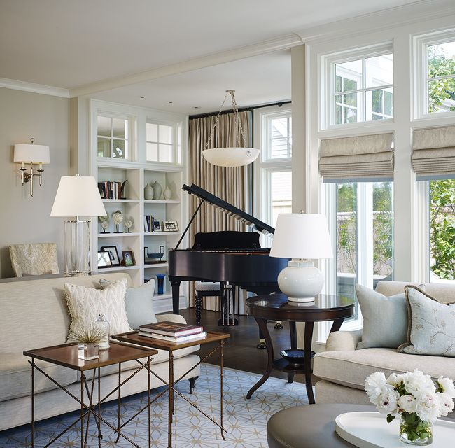An alcove in the formal living room was the perfect spot for the family's  baby grand