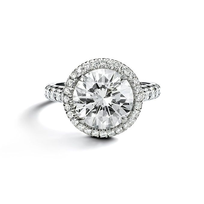 Destineé solitaire, platinum, pavé engagement ring with brilliant-cut diamonds and a brilliant-cut center stone, price upon request, Cartier See more Cartier engagement rings. Featured In: Cartier Photo: Courtesy of Cartier