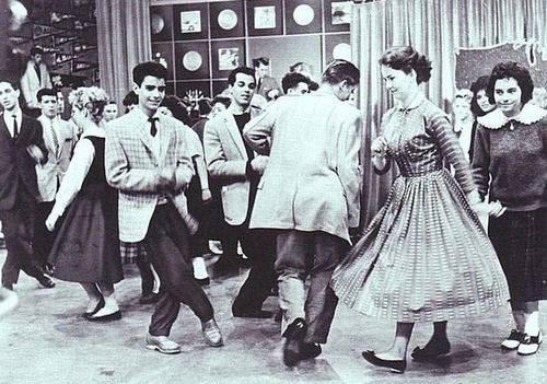 Teens, 1950s  Teenagers kick up their heels during a telecast of American Bandstand.