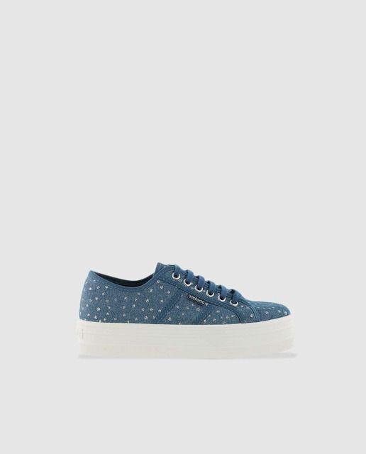 Zapatillas de lona de niña Victoria en azul jeans con por
