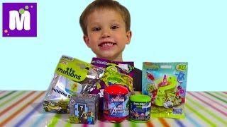 Смотреть онлайн видео Майнкрафт Миньоны СпанчБоб Энгри Бёрдс сюрпризы с игрушками распаковка surprise unboxing