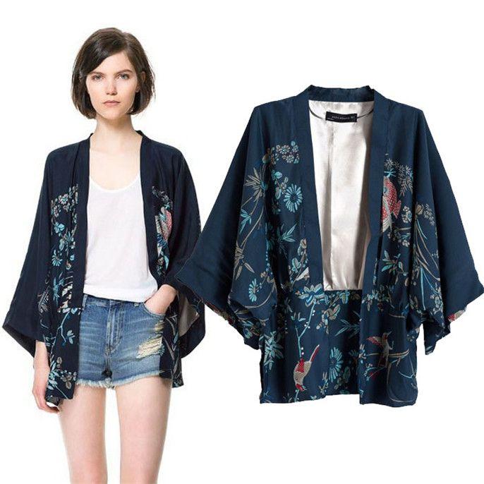 Мода женщин печатных феникс свободный стиль кимоно кардиган асимметричный жакет а1