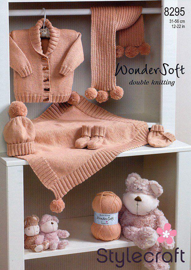 Jacket, Blanket, Scarf, Hat, Mittens & Bootees in Stylecraft Wondersoft DK (8295)   Scarf Knitting Patterns   Knitting Patterns   Deramores