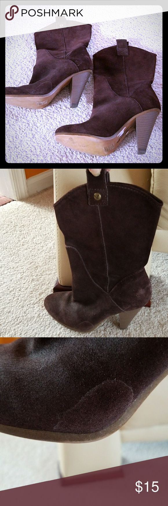 American Eagle Outfitters Brown Suede Boots As the pictures portray, these have been worn and are not perfect, BUT very cute! The marks are not obvious because of the deep chocolate color, so they still look good 👌  I'm always down for a good offer 🤝. Ask any questions and Happy Poshing!! 🛍 American Eagle Outfitters Shoes Heeled Boots