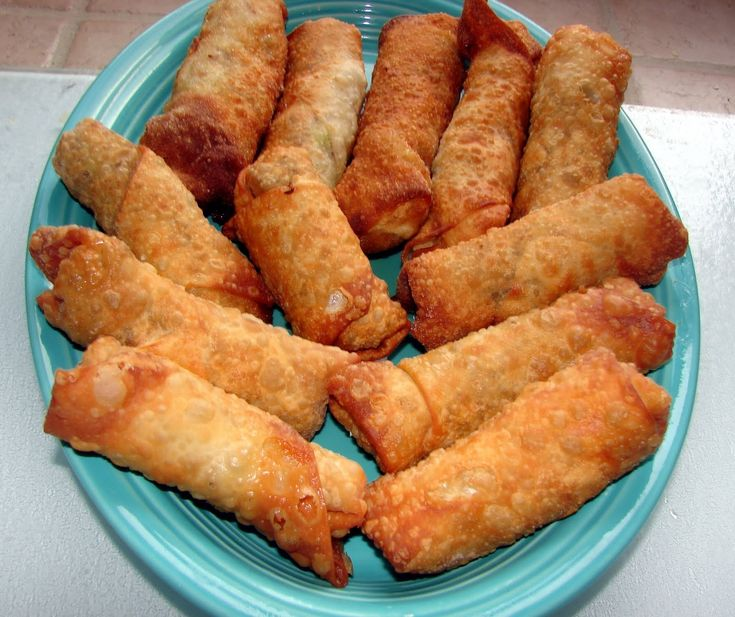 Homemade Egg Rolls Sure Beat Takeout!!! These egg rolls are crispy golden brown with a delicious filling of fresh cabbage and carrots and if you choose, you can also add pork- chicken or shrimp. There