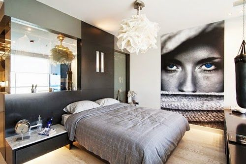 Face Wall Art Mural in Modern Bedroom Design Ideas