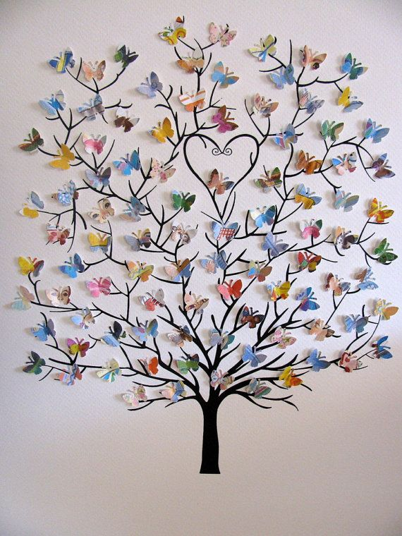 8X10 Tree of 3D Mini Butterflies Upcycled Love You Forever or Your Choice of Book Listed / Personalized at Bottom / Made to Order