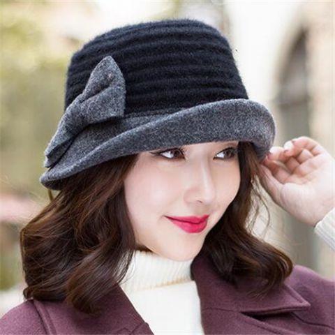 639597762b8b0 Bow bucket hat for women warm rabbit fur winter hats crimping design ...