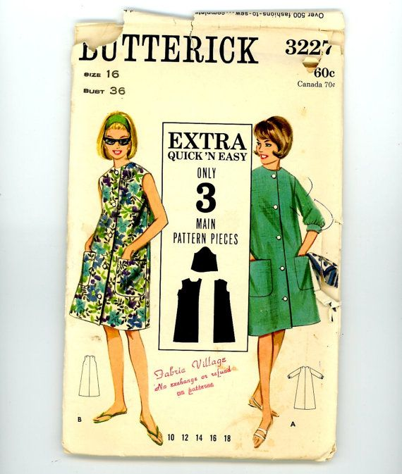 Beach Robe Pattern - Butterick 3227, Misses Size 16, A-line Dress, Button Front Cover up, Sleeveless & Long Sleeve, Vintage 1960s Clothing