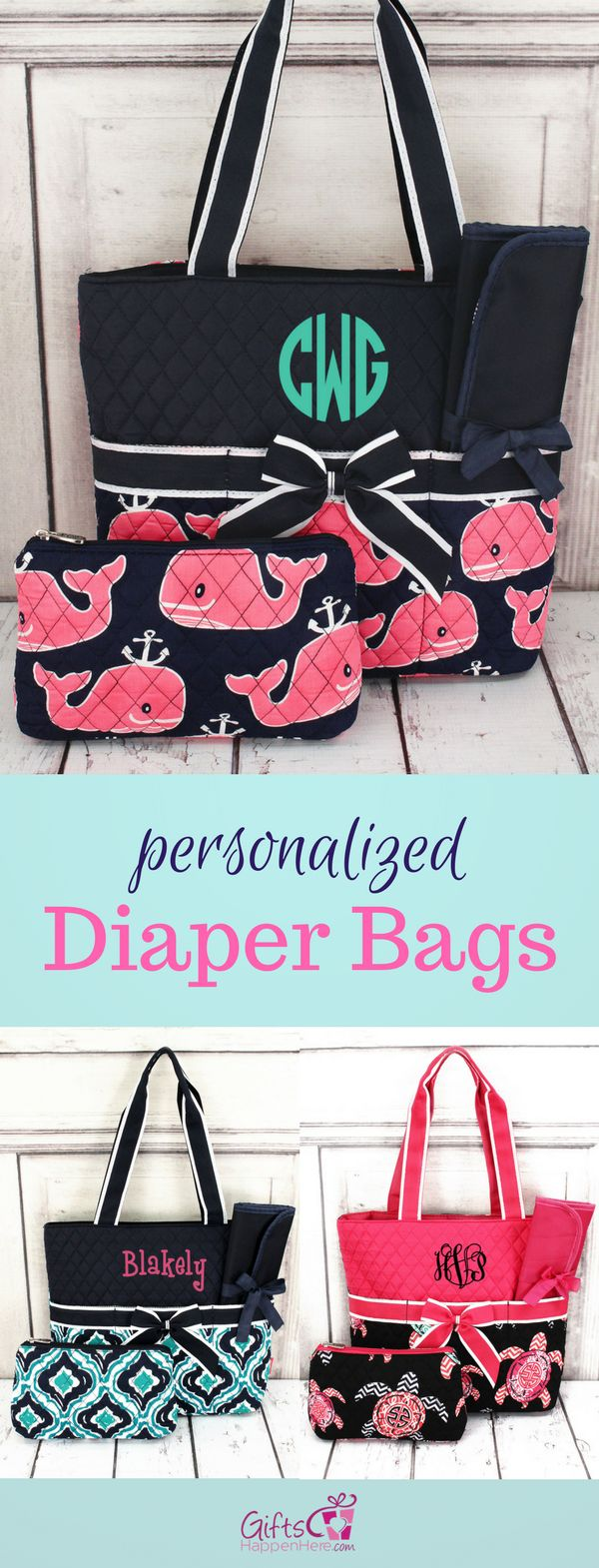 Beautifully monogrammed diaper bags including embroidery. Patterns: ikat, whale, turtle, paisley, anchor  / Personalized Diaper Bags / Diaper Bags / Best Diaper Bags