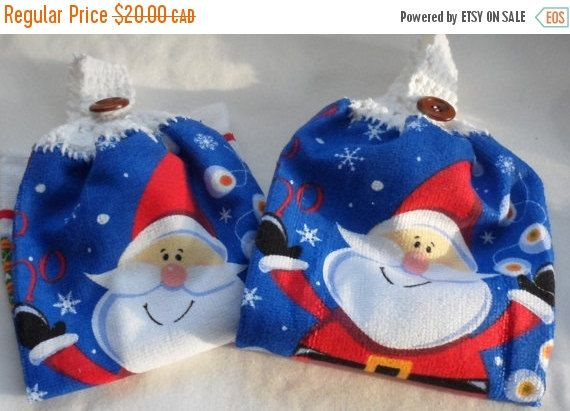 Santa Kitchen Hand Towels/Crocheted Tops of 100 Percent Cotton Yarn /Soft n Luxurious Xmas Towels with Jolly Santa n Red,White,Blue Theme