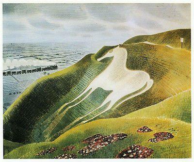 Westbury White Horse, Eric Ravilious vintage print 1983 ready mounted SUPERB
