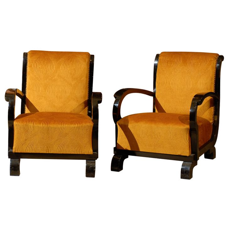 Pair Of Art Deco Early 20th Century Period Gold Fabric Upholstered Club Chairs Furniture StylesArt FurnitureVintage