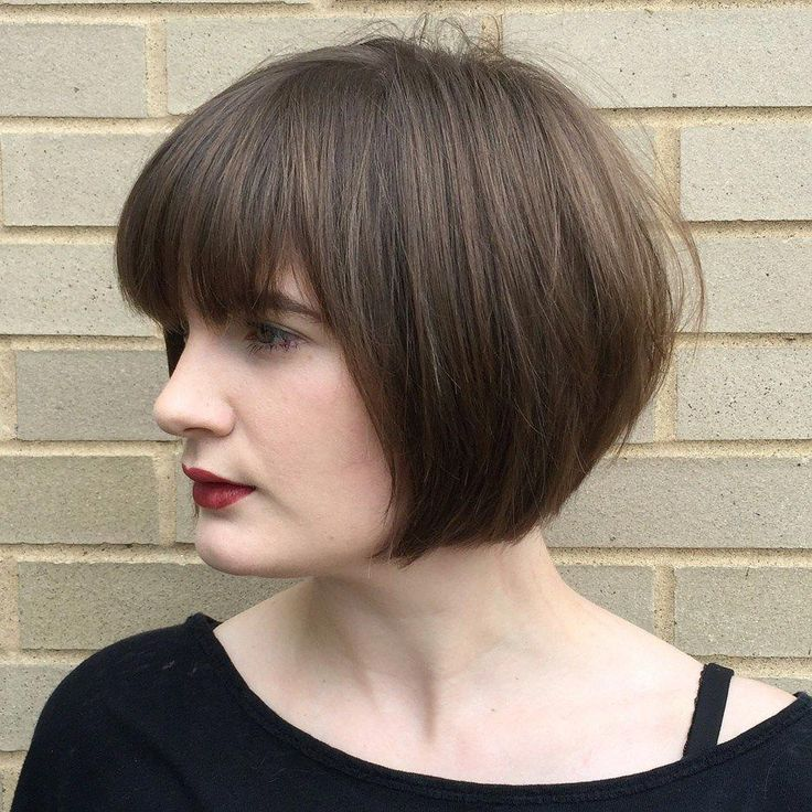 Neat Jaw Length Bob with Bangs for Fine Hair  ...