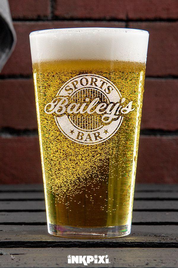 Sports Bar Clear Pint Glass Engraved Single Custom Pint