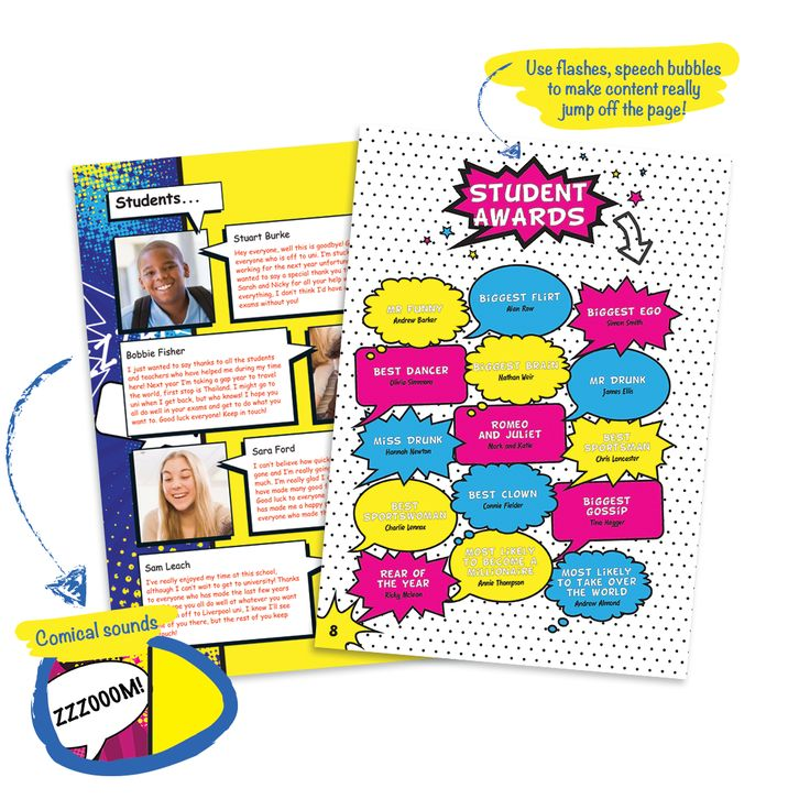 Yearbook theme ideas - comic book style! Comic book yearbook designs are all about fun, bright, colourful pages with storyboards, bold graphics and speech bubbles.
