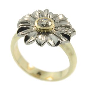9ct Yellow & White Gold Diamond Flower Ring, handmade at Cameron Jewellery